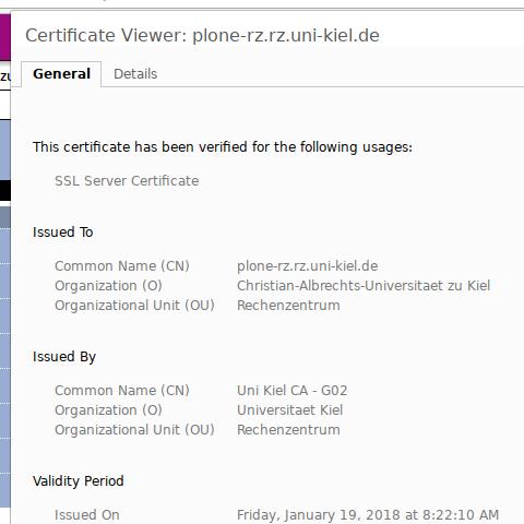 Chrome, altes Zertifikat: herausgegeben durch Universitaet Kiel