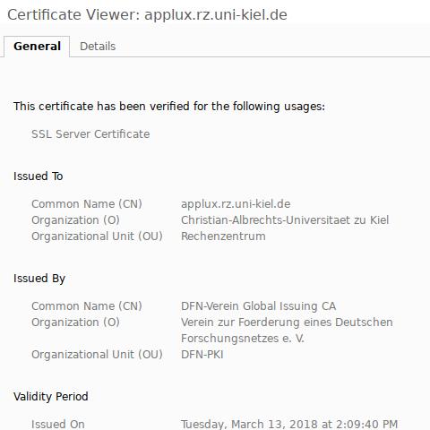 Chrome, neues Zertifikat: herausgegeben durch DFN-Verein