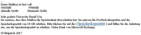 Eine typische Phishing-Mail