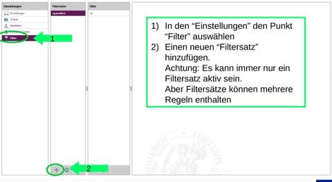 Roundcube - Einstellungen Filterregeln
