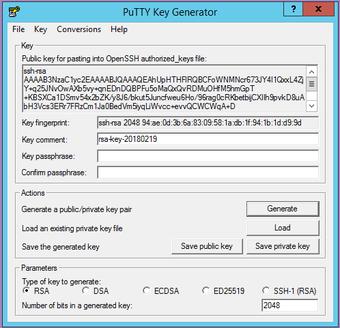 PuttyGen mit erzeugtem Key