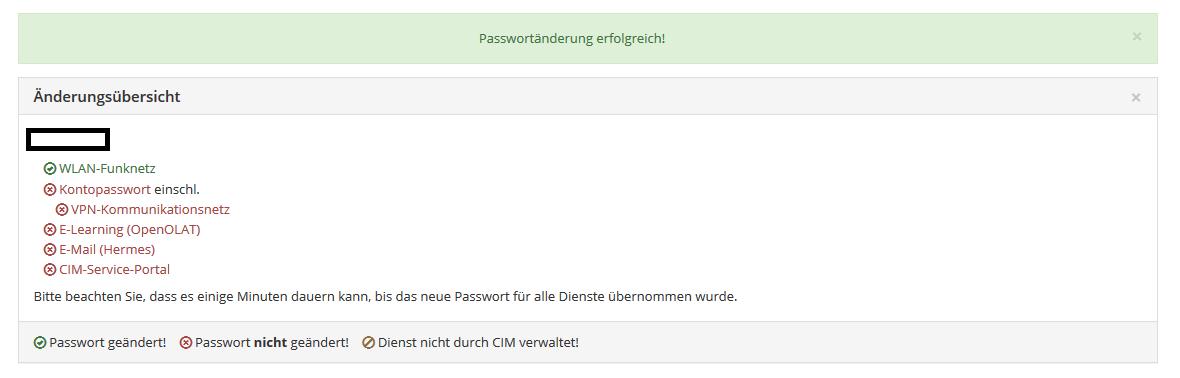 Bestätigung der Passwort Änderung