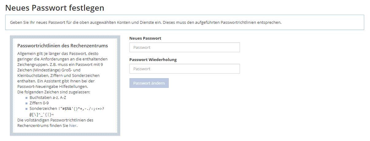 Bild: Neues Passwort festlegen