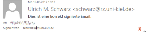 Signierte Mail in Outlook