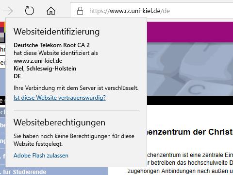 Microsoft-Browser, altes Zertifikat: herausgegeben durch Deutsche Telekom Root CA 2