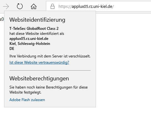 Microsoft-Browser, neues Zertifikat: herausgegeben durch T-TeleSec GlobalRoot Class 2