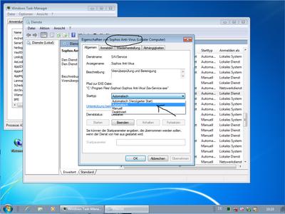 Starttyp Sophos Dienst automatisch einstellen