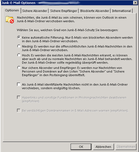 Outlook Junk Mail Settings