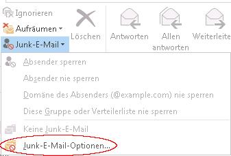 Outlook Junk Mail Settings Ribbon