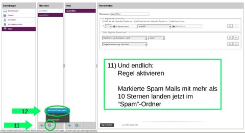 Roundcube: Spamfilter-Regel aktivieren