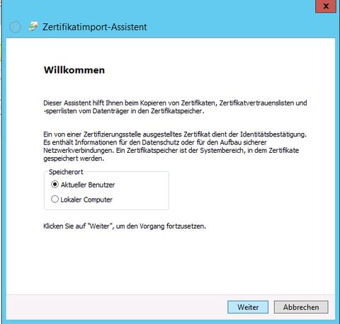 Zertifikatimport-Assistent