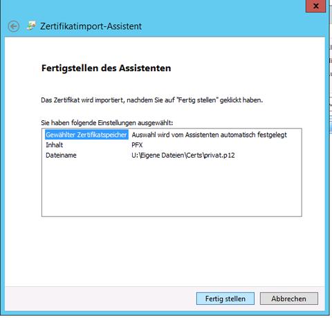 Zertifikat-Import Assistent Auswahl Übersicht