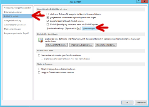 Outlook 2013 - Trustcenter E-Mail-Sicherheit Einstellungen