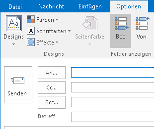 Blindkopie in Outlook aktivieren