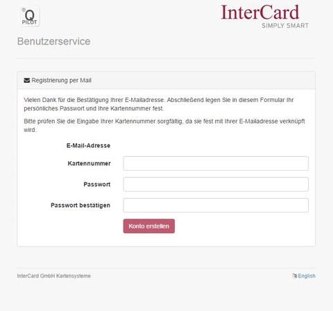 Kartennummer und Passwort setzen