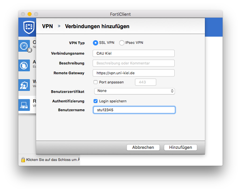 Neue VPN-Verbindung hinzufügen