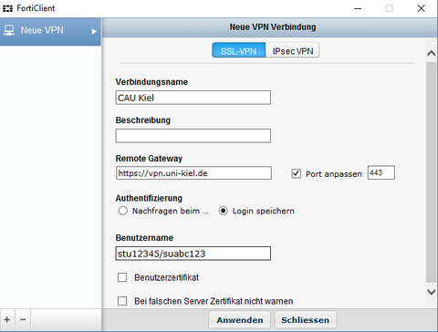 VPN Verbindung einrichten