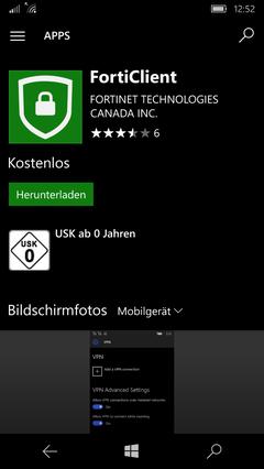 FortiClient App im Store herunterladen
