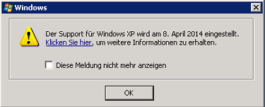 Supportende Windows XP Meldung